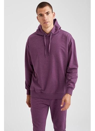 DeFacto Oversize Fit Kapüşonlu Basic Sweatshirt Mor